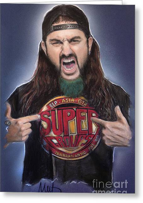 Hard Rock Mixed Media Greeting Cards - Mike Portnoy Greeting Card by Melanie D