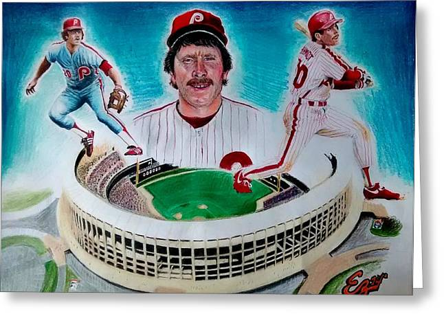Phillies Mixed Media Greeting Cards - Mike Schmidt Greeting Card by Ezra Strayer