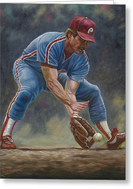 Philadelphia Phillies Art Greeting Cards - Mike Schmidt Greeting Card by Gregory Perillo