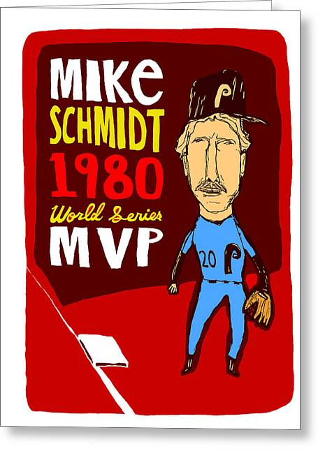 Phillies Mixed Media Greeting Cards - Mike Schmidt Philadelphia Phillies Greeting Card by Jay Perkins