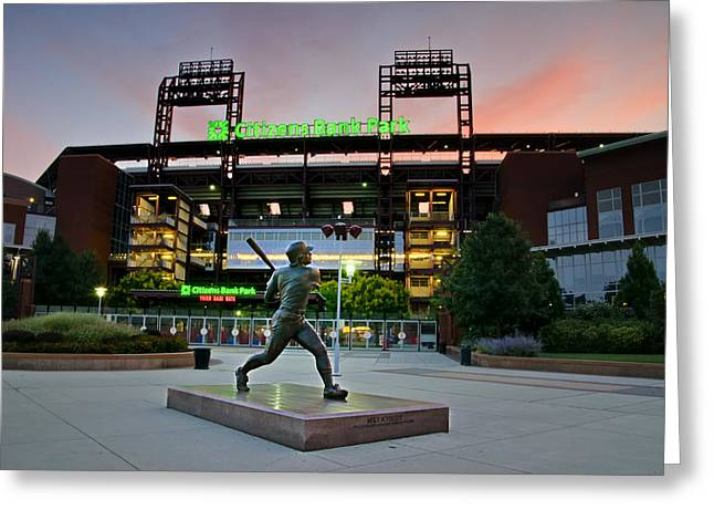 Mike Schmidt Statue At Dawn Greeting Card by Bill Cannon