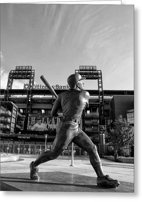 Philadelphia Phillies Stadium Digital Greeting Cards - Mike Schmidt Statue in Black and White Greeting Card by Bill Cannon