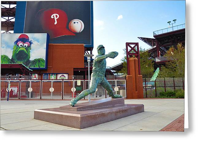Philadelphia Phillies Stadium Digital Greeting Cards - Steve Carlton Statue - Phillies Citizens Bank Park Greeting Card by Bill Cannon