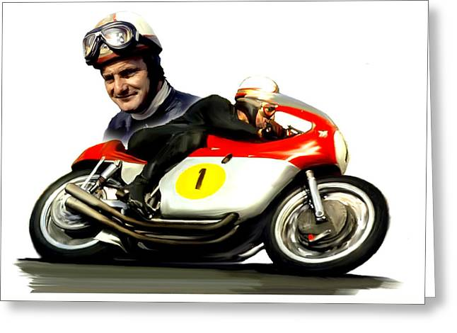 Mike The Bike  Mike Hailwood Greeting Card by Iconic Images Art Gallery David Pucciarelli