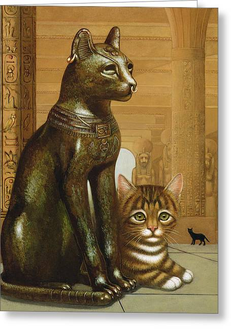 Hieroglyph Greeting Cards - Mike The British Museum Kitten, 1995 Oil & Tempera On Panel Greeting Card by Frances Broomfield