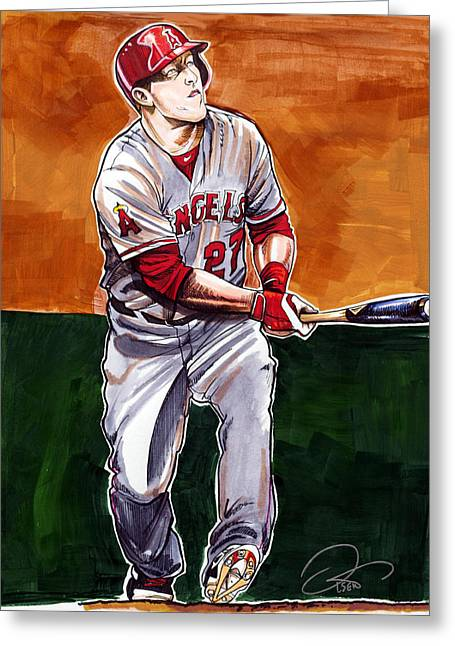Los Angeles Drawings Greeting Cards - Mike Trout Greeting Card by Dave Olsen