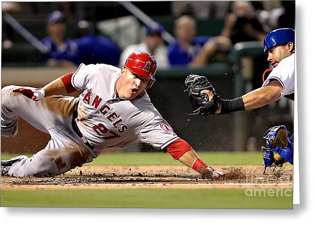Trout Greeting Card Greeting Cards - Mike Trout Greeting Card by Marvin Blaine