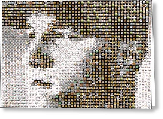 Mike Trout Mosaic Greeting Card by Paul Van Scott