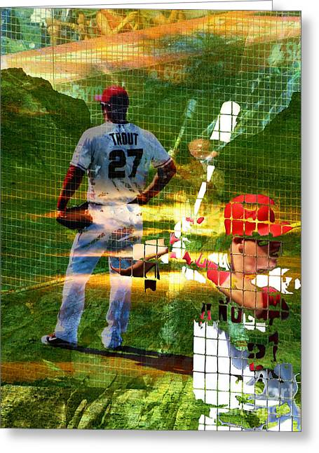 All Star Game Digital Art Greeting Cards - Mike Trout Greeting Card by Robert Ball