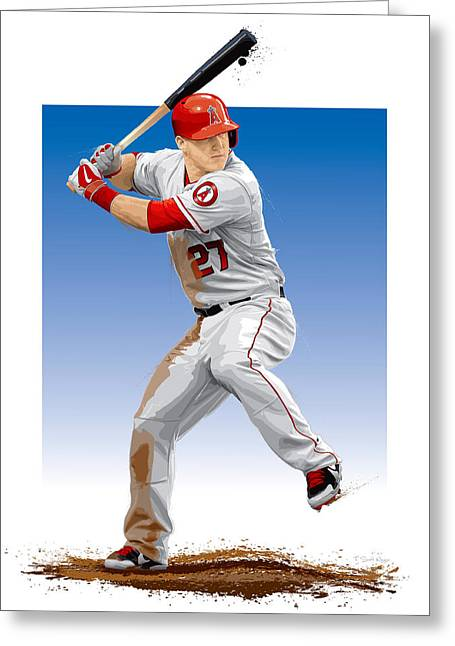 Mvp Digital Greeting Cards - Mike Trout Greeting Card by Scott Weigner