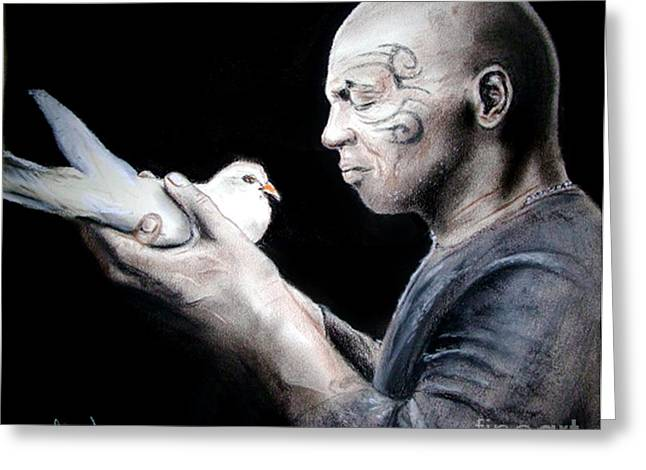 Sf Bay Bombers Mixed Media Greeting Cards - Mike Tyson and Pigeon Greeting Card by Jim Fitzpatrick