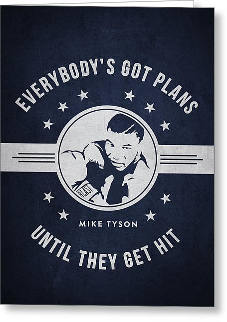 Mike Tyson - Navy Blue Greeting Card by Aged Pixel