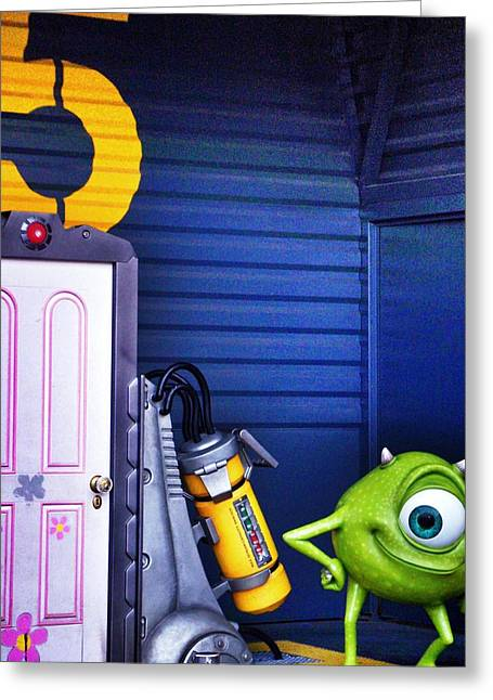Mike With Boo's Door - Monsters Inc. In Disneyland Paris Greeting Card by Marianna Mills