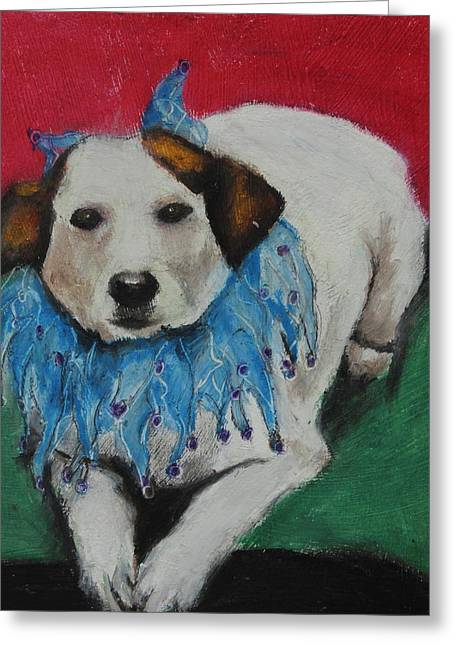 Doggy Pastels Greeting Cards - Mikey Greeting Card by Jeanne Fischer