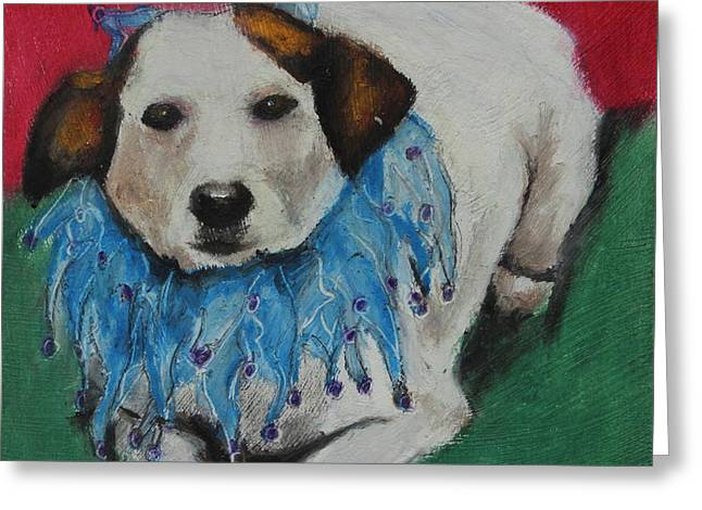 Puppies Pastels Greeting Cards - Mikey Greeting Card by Jeanne Fischer