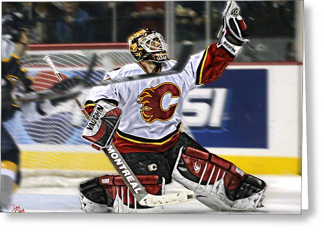 Professional Ice Hockey Greeting Cards - Mikka Kiprusoff Greeting Card by Don Olea