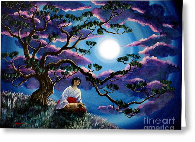 Shinto Greeting Cards - Miko and Cat Meditation Greeting Card by Laura Iverson