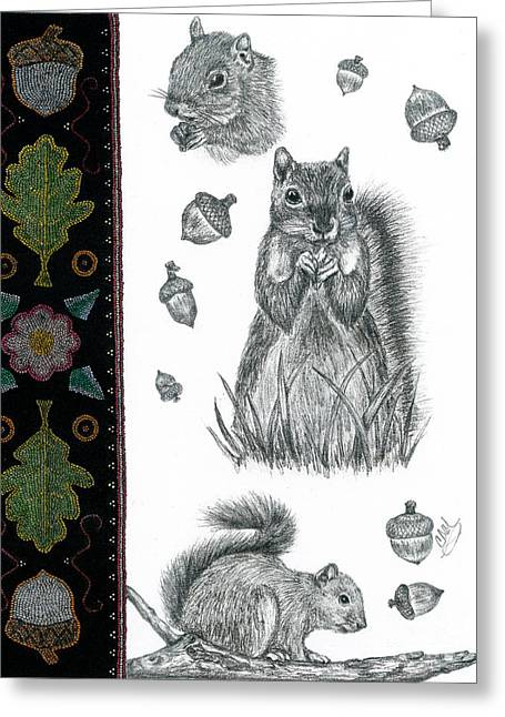 Squirrel Drawings Greeting Cards - Miko Greeting Card by Christine Matha
