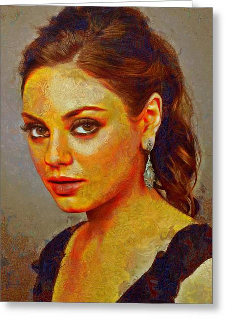 Mila Kunis Greeting Cards - Mila Kunis Greeting Card by Nikola Durdevic