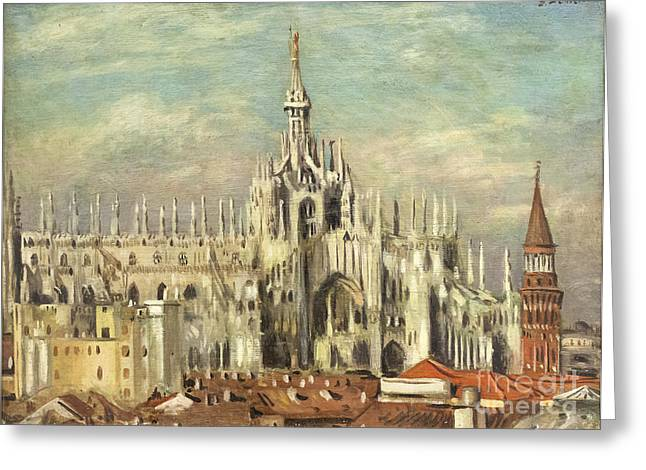 Chirico Greeting Cards - Milan cathedral from the rooftops by Giorgio de Chirico Greeting Card by Roberto Morgenthaler