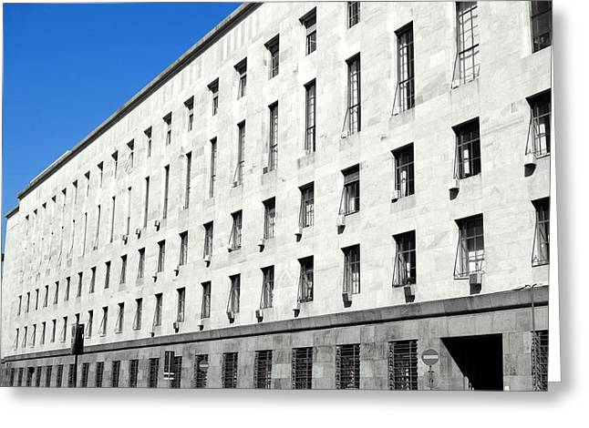Trial Greeting Cards - Milan Courthouse Building Greeting Card by Valentino Visentini