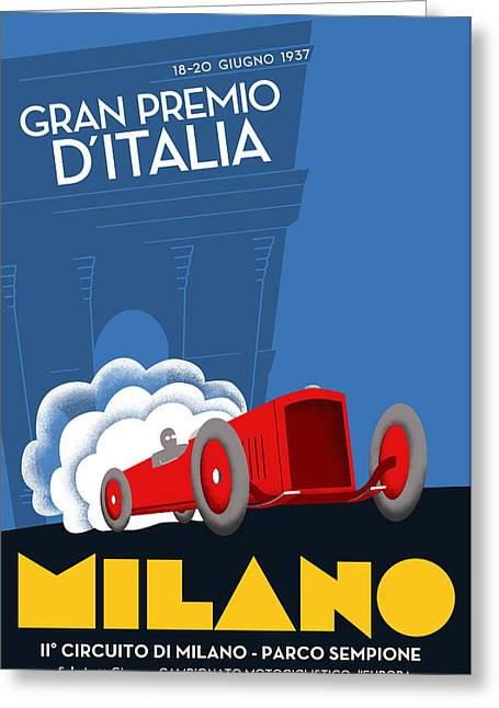 Rally Greeting Cards - Milan Italy Grand Prix 1937 Greeting Card by Nomad Art And  Design