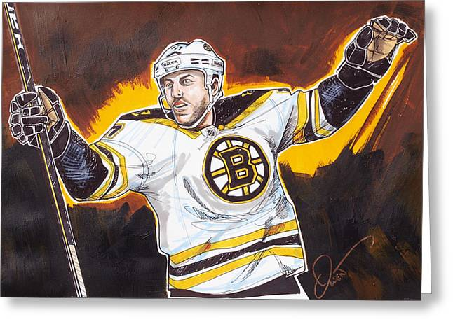 Boston Globe Greeting Cards - Milan Lucic of the Boston Bruins Greeting Card by Dave Olsen