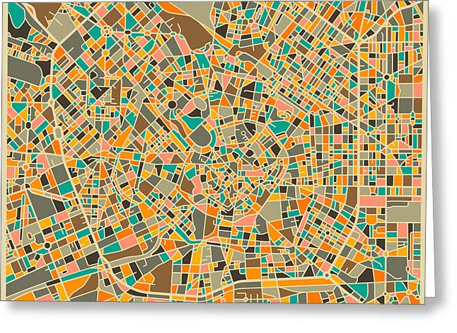 Italy Art Greeting Cards - Milan Map Greeting Card by Jazzberry Blue