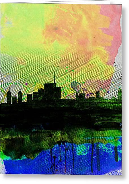 Italian Landscapes Digital Greeting Cards - Milan Watercolor Skyline 2 Greeting Card by Naxart Studio