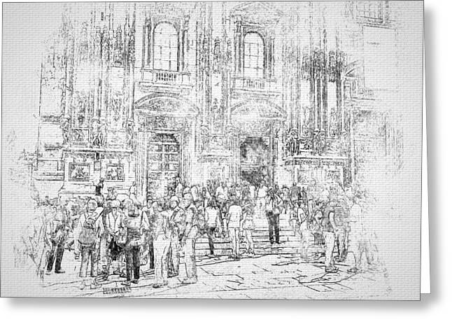 Milano Greeting Cards - Milano Dome Tourists BW Greeting Card by Yury Malkov