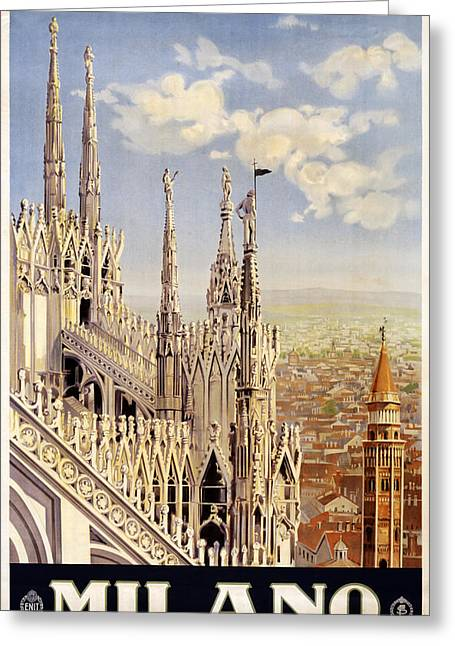 Historic Statue Digital Art Greeting Cards - Milano Italy Greeting Card by Nomad Art And  Design
