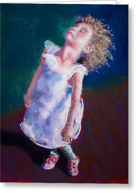 Curly Hair Pastels Greeting Cards - Milas Sun Greeting Card by Wanda Cox