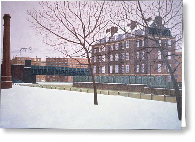 Flat Greeting Cards - Mile End Park Under Snow Greeting Card by Doreen Fletcher