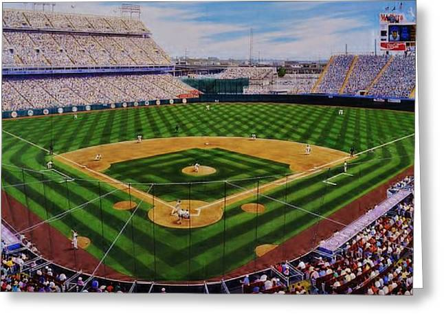 Baseball Murals Paintings Greeting Cards - Mile High Madness Greeting Card by Thomas  Kolendra