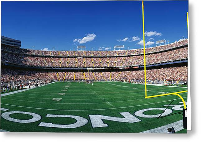 Human Being Photographs Greeting Cards - Mile High Stadium Greeting Card by Panoramic Images