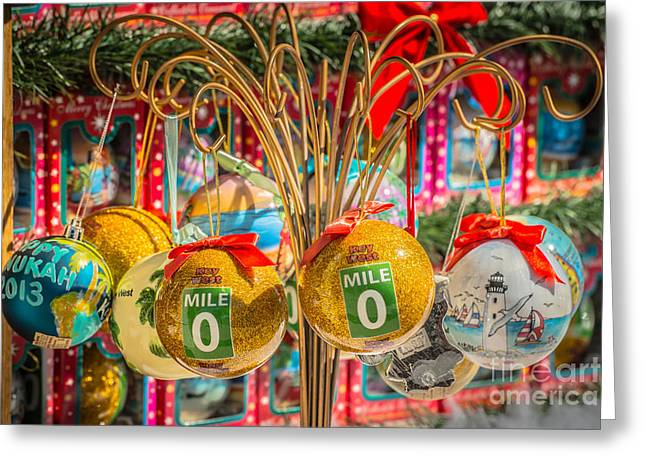 Liberal Greeting Cards - Mile Marker 0 Christmas Decorations Key West 2 - HDR Style Greeting Card by Ian Monk