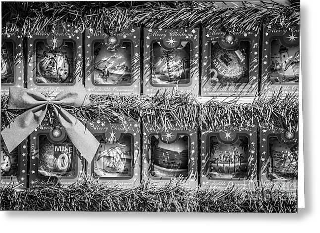 Mile Marker Greeting Cards - Mile Marker 0 Christmas Decorations Key West 4 - Black and White Greeting Card by Ian Monk