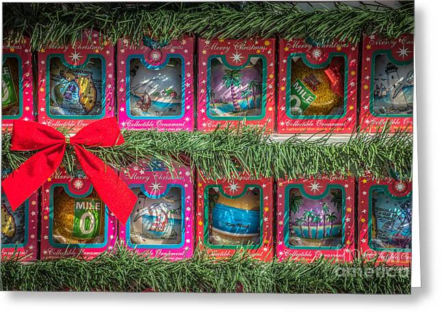 Mile Marker Greeting Cards - Mile Marker 0 Christmas Decorations Key West 4 - HDR Style Greeting Card by Ian Monk