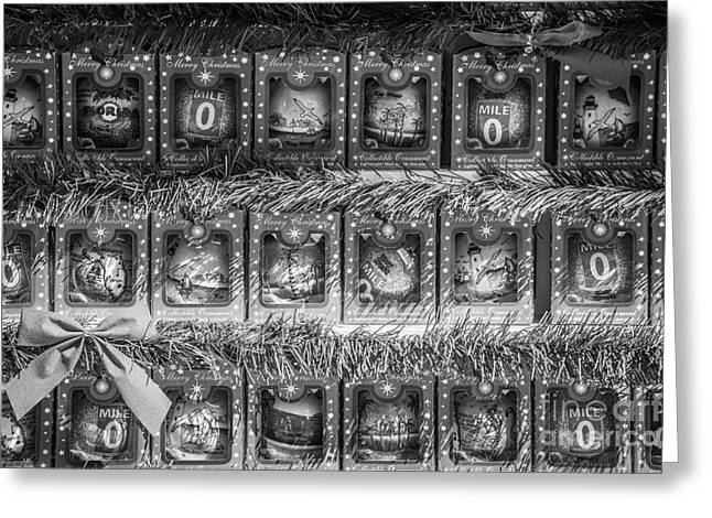 Mile Marker Greeting Cards - Mile Marker 0 Christmas Decorations Key West - Black and White Greeting Card by Ian Monk