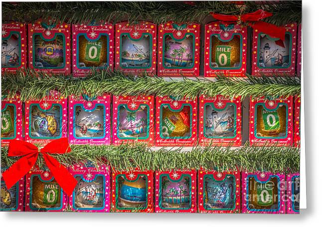 Mile Marker Greeting Cards - Mile Marker 0 Christmas Decorations Key West - HDR Style Greeting Card by Ian Monk