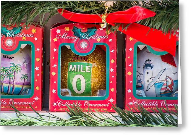 Mile Marker Greeting Cards - Mile Marker 0 Christmas Decorations Key West - Square Greeting Card by Ian Monk