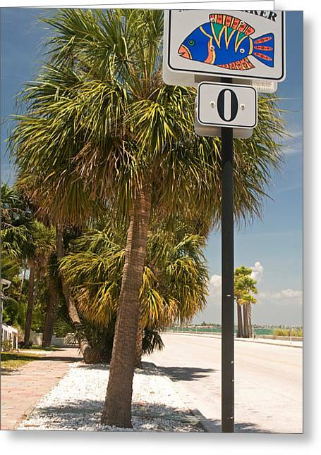Mile Marker Zero At Pass-a-grille, St Greeting Card by Panoramic Images