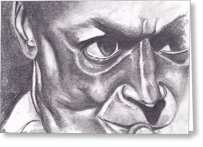 African-american Drawings Greeting Cards - Miles at Work Greeting Card by Dallas Roquemore