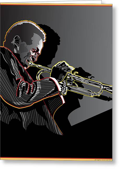 Larry Butterworth Greeting Cards - Miles Davis Legendary Jazz Musician Greeting Card by Larry Butterworth