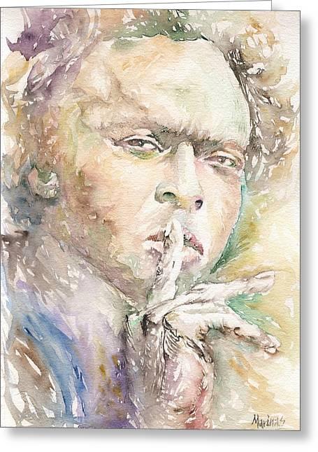Mick Jagger Portrait Greeting Cards - Miles Davis Greeting Card by Marina Sotiriou