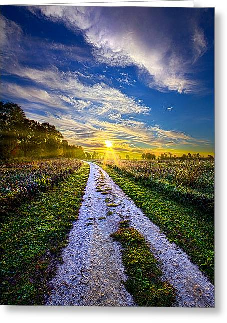 Dirt Road Greeting Cards - Miles on my Heart Greeting Card by Phil Koch