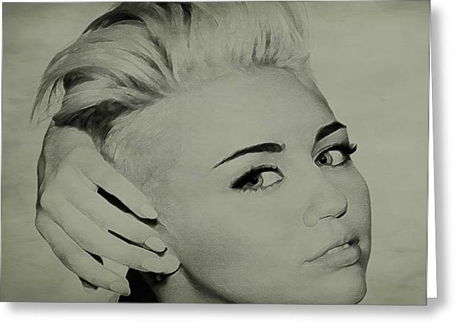 Destiny Drawings Greeting Cards - Miley Cyrus  Greeting Card by Brian Reaves