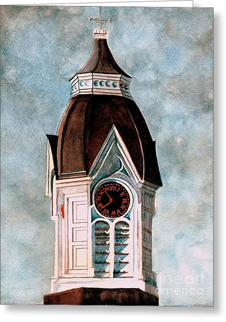Clock Greeting Cards - Milford clock Tower Greeting Card by Janine Riley