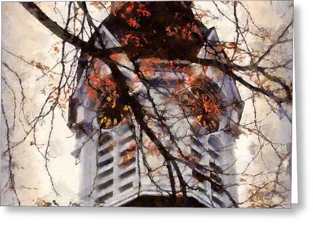 Milford Clock Tower vintage Greeting Card by Janine Riley