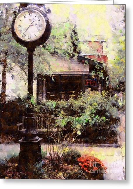 Old Town Digital Greeting Cards - Milford Jewelry Square Clock Greeting Card by Janine Riley
